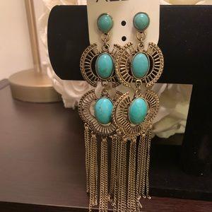 ALDO Silver + Turquoise Chandelier Earrings